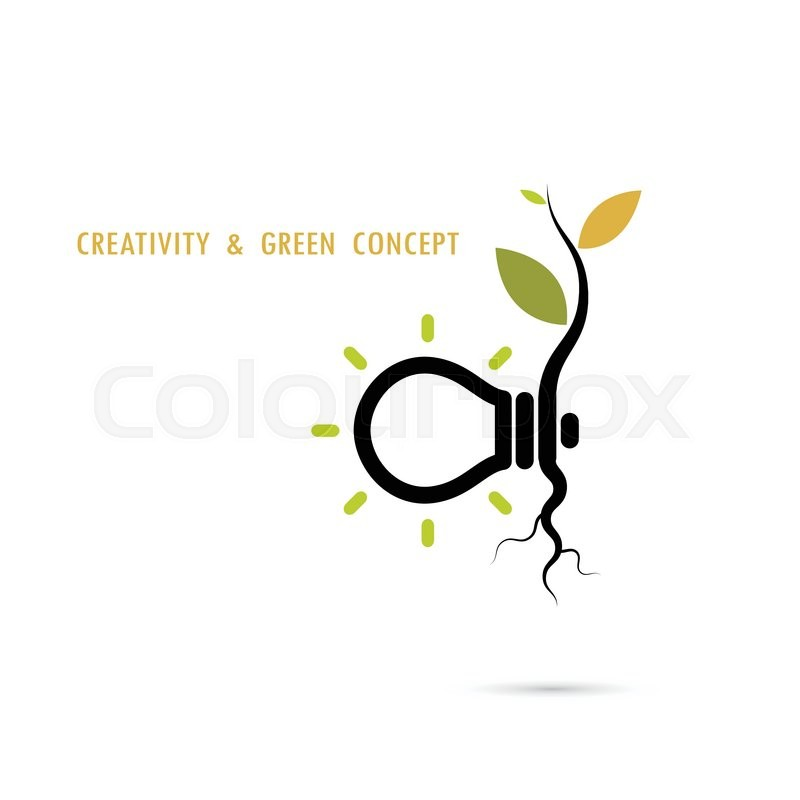 plant growing inside the light bulb logogreen eco energy