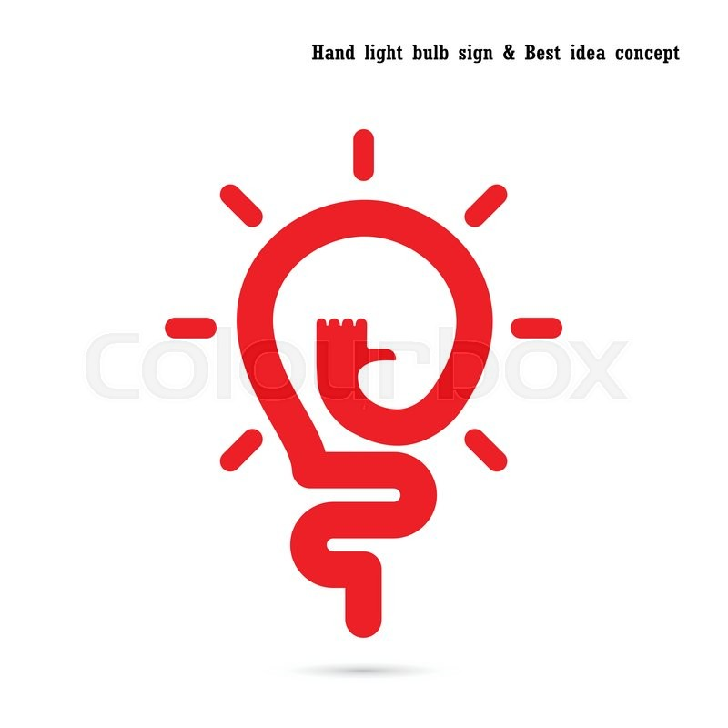 human hand and light bulb icon vector design the best idea concept