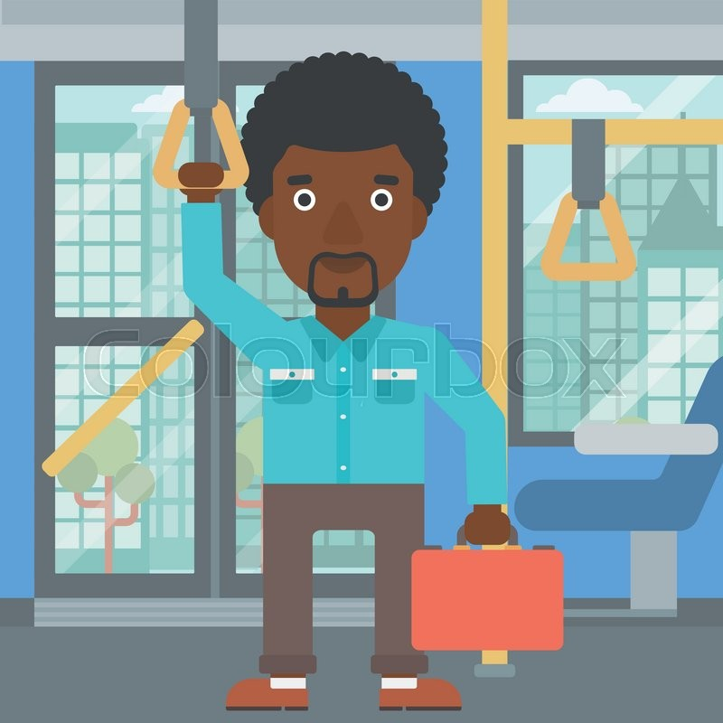 An african-american young man traveling by public transport. Man traveling by passenger bus or subway. Vector flat design illustration. Square layout, vector