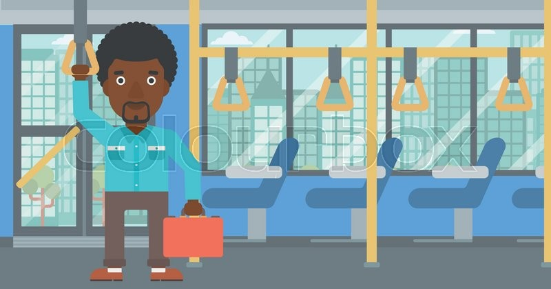 An african-american young man traveling by public transport. Man traveling by passenger bus or subway. Vector flat design illustration. Horizontal layout, vector