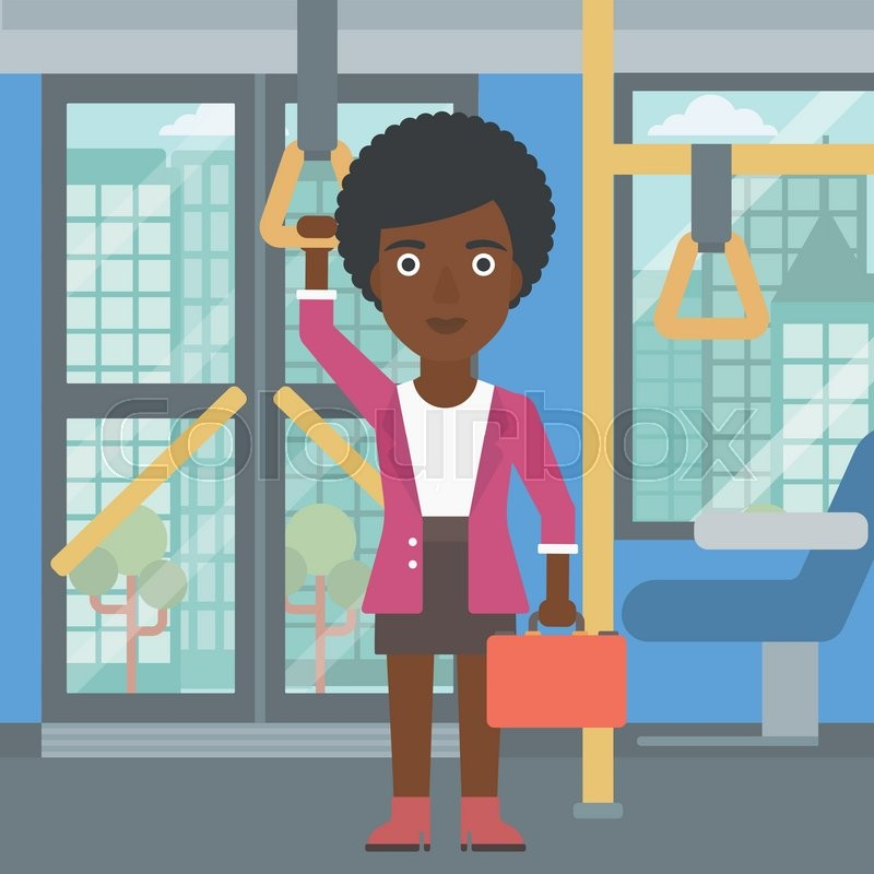 An african-american woman traveling by public transport. Young woman standing inside public transport. Woman traveling by passenger bus or subway. Vector flat design illustration. Square layout, vector