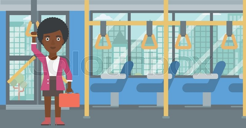 An african-american woman traveling by public transport. Young woman standing inside public transport. Woman traveling by passenger bus or subway. Vector flat design illustration. Horizontal layout, vector