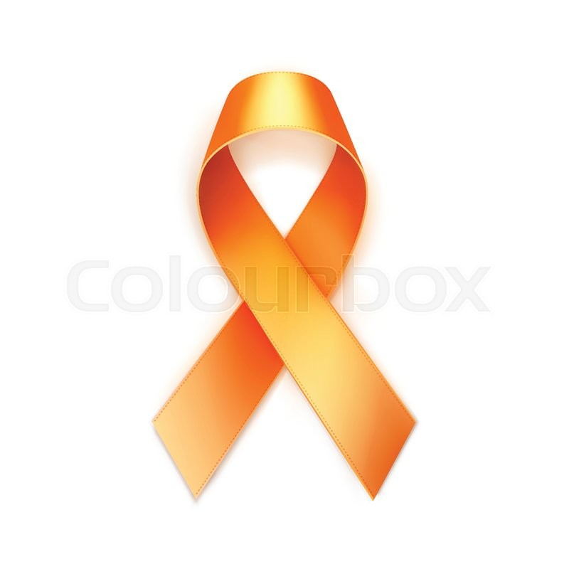 Vector Orange Yellow Breast Cancer Ribbon Isolated On White