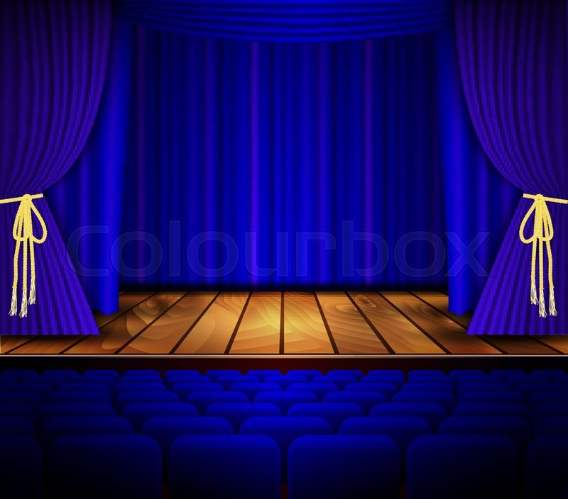 Cinema Or Theater Scene With A Curtain Theater Stage With