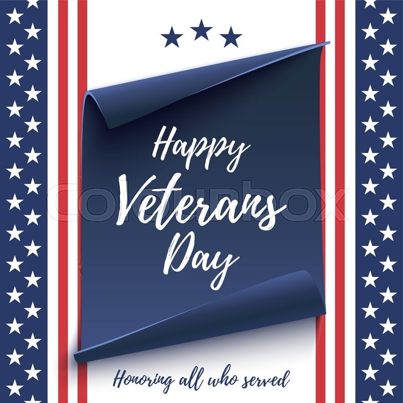 happy veterans day background on american flag and blue curved paper banner poster brochure or flyer template vector illustration