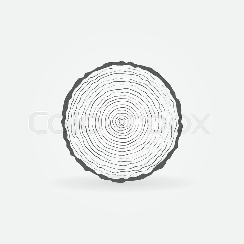 Cut Tree Trunk Icon Vector Minimal Tree Trunk Cross Section Symbol