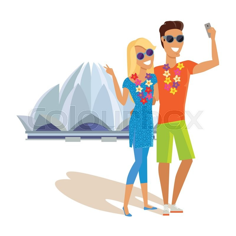 Summer vacation in India concept. Honeymoon in exotic country vector illustration. Selfie on background of famous historical monuments. Couple taking picture near Lotus temple, vector