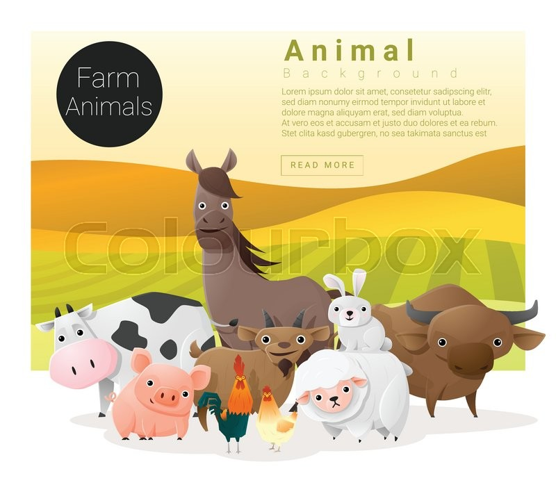 Cute animal family background with farm animals , vector , illustration, vector