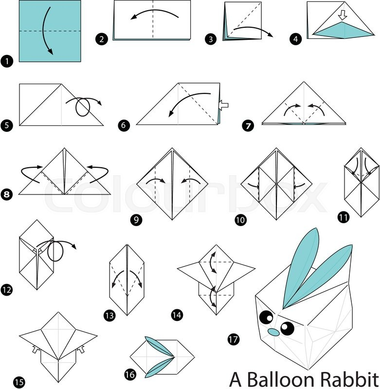 Step By Step Instructions How To Make Origami A Balloon Rabbit