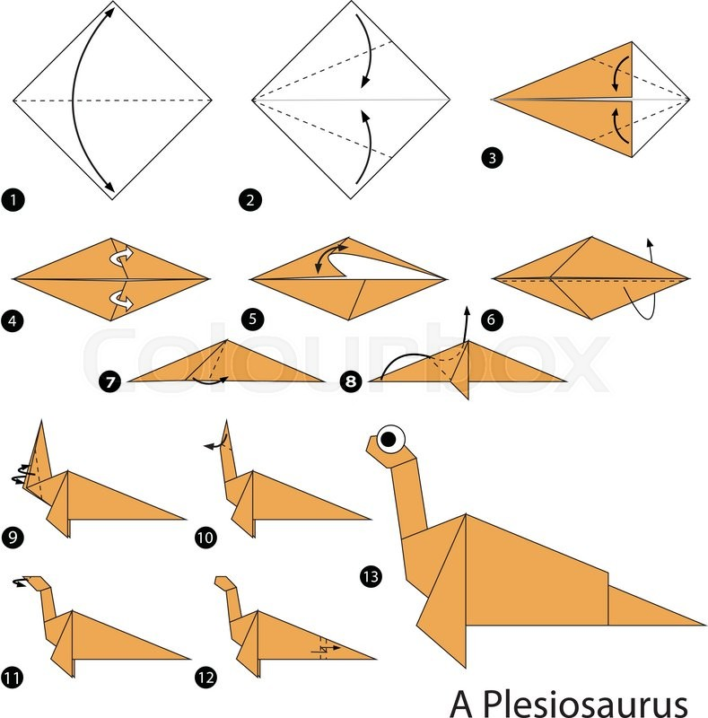 Step By Step Instructions How To Make An Origami Dinosaur Stock