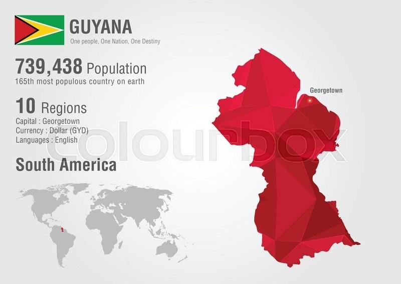 Guyana world map polygon with a diamond pattern world geography guyana world map polygon with a diamond pattern world geography population stock vector colourbox gumiabroncs Image collections