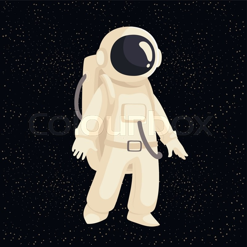 Cartoon astronaut in open cosmos vector illustration. Cosmonaut floating in space. Illustration of cosmos traveler, galaxy explorer, astronaut suit science and technology, vector