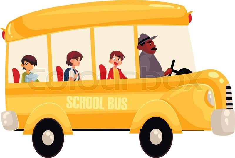 cartoon vector illustration of happy primary students riding school rh colourbox com School Supplies Clip Art Yellow School Bus Clip Art