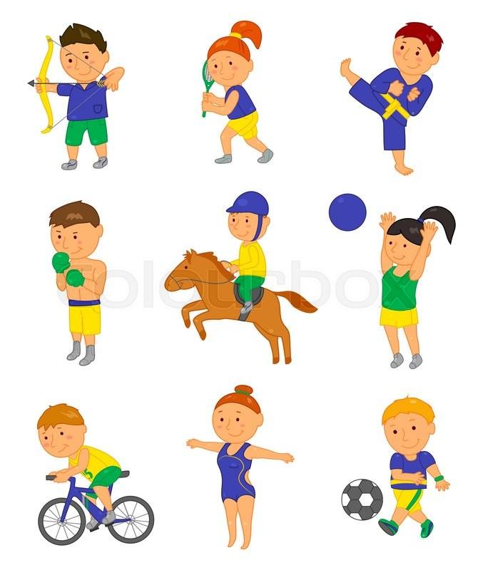 cartoon sport kids vector illustration for 2016 brazil olympic game rh colourbox com Olympic Torch Clip Art Olympic Flag Clip Art
