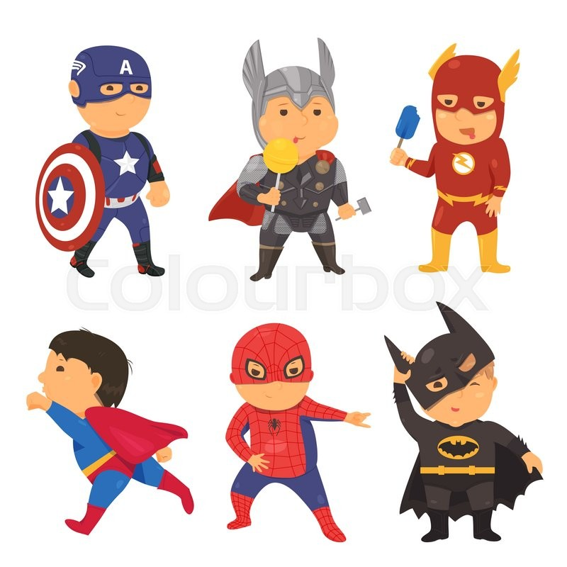 cartoon superhero costume kids vector illustration for comic super rh colourbox com superhero victory town super hero vector logo