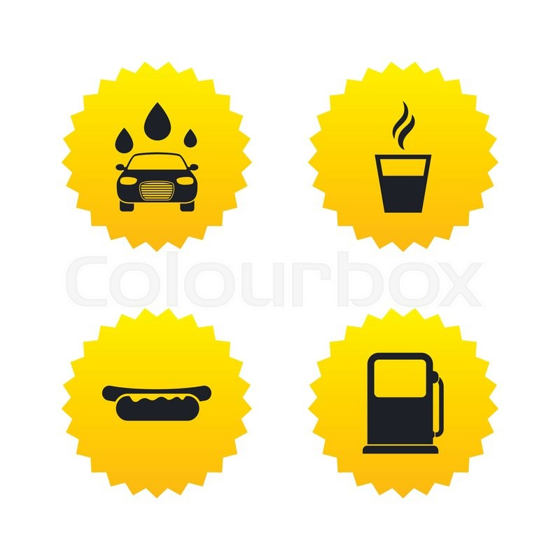 Petrol Or Gas Station Services Icons Automated Car Wash Signs