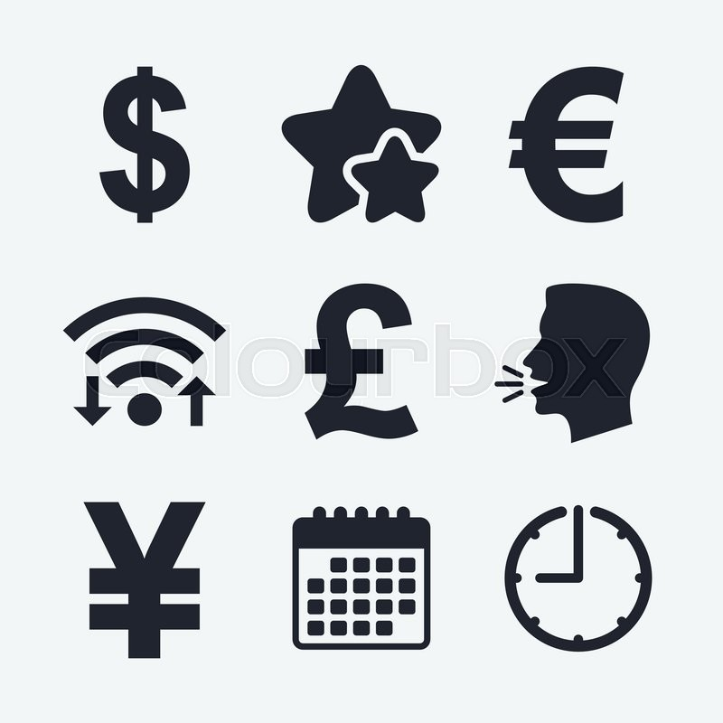 Dollar Euro Pound And Yen Currency Icons Usd Eur Gbp And Jpy
