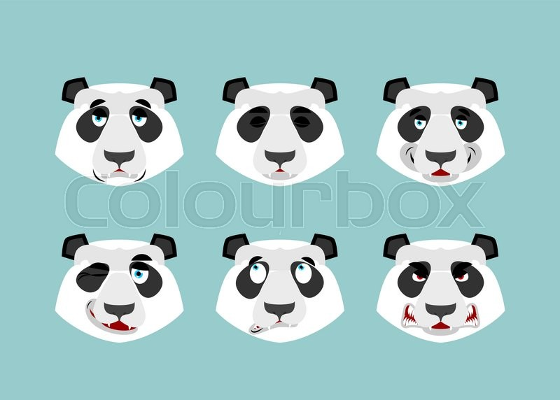 Panda Emotion Set Expressions Avatar Chinese Bear Animal Good And