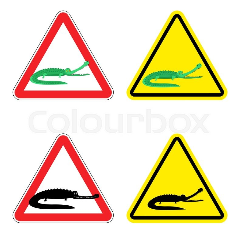 warning sign of attention crocodile dangers yellow sign aggressive