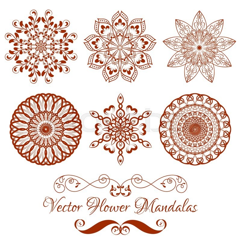 set from vector henna color flower mandala white background