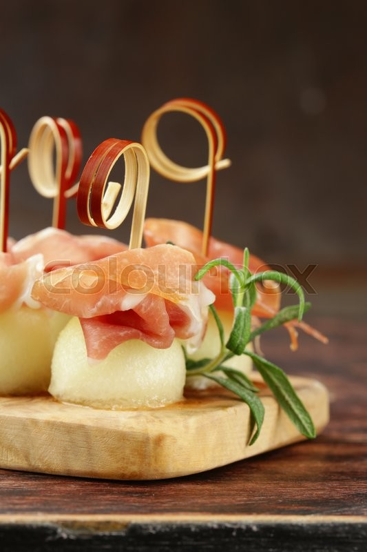 Stock foto af 'melone, antipasti, bacon'