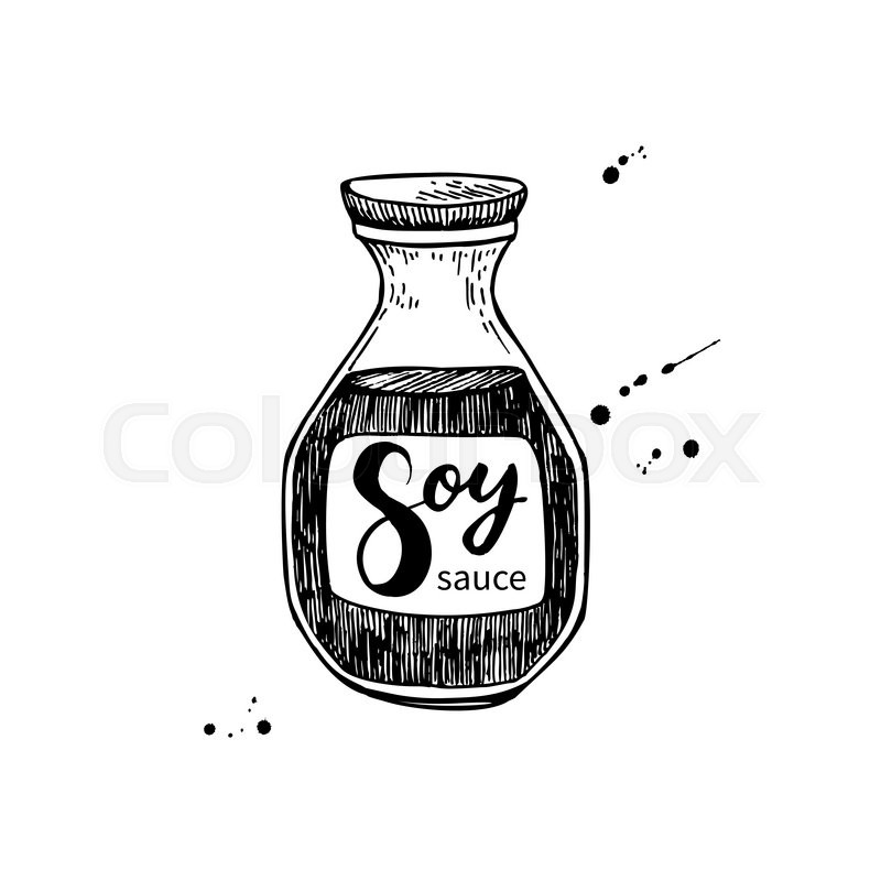 Soy Sauce Vector Bottle Isolated Food Drawing Hand Drawn Detailed