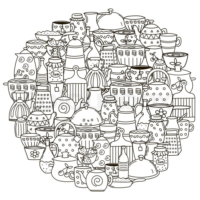 Circle Shape Pattern With Dishes For Coloring Book Black And White Background Pans Cups Teapots Other Kitchen Things