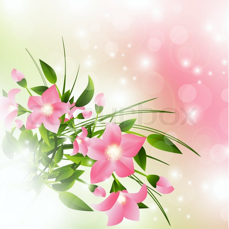 Pink Flowers Over Pink Background With Lights