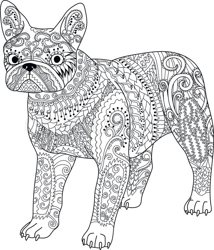 High detail patterned french bulldog in zentangle style ...