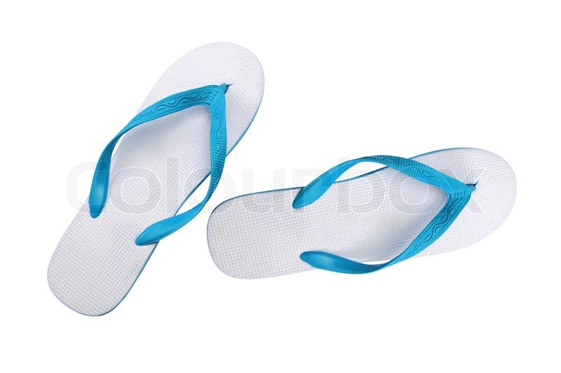 8c48a44d2fff Pair of blue flip-flops isolated on a ...
