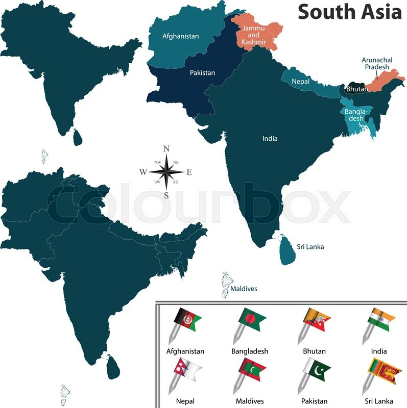 Vector Of Political Map Of South Asia Stock Vector