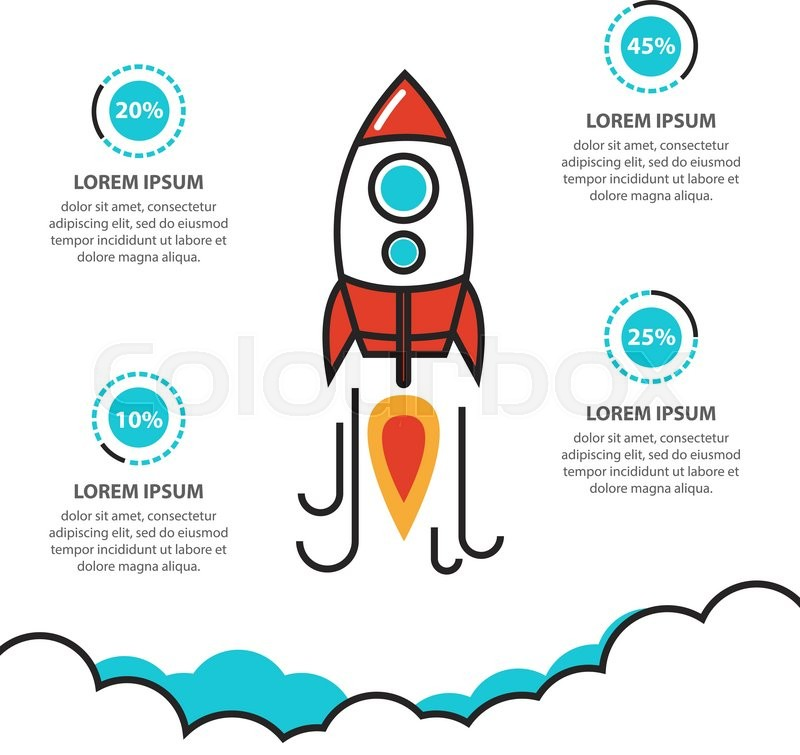 flat thin line illustration concept of business project startup infographic with rocket. Black Bedroom Furniture Sets. Home Design Ideas