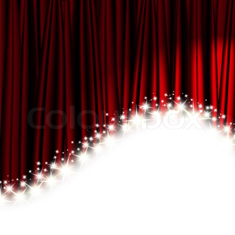 Red Theater Curtain With Stars, Stock Photo