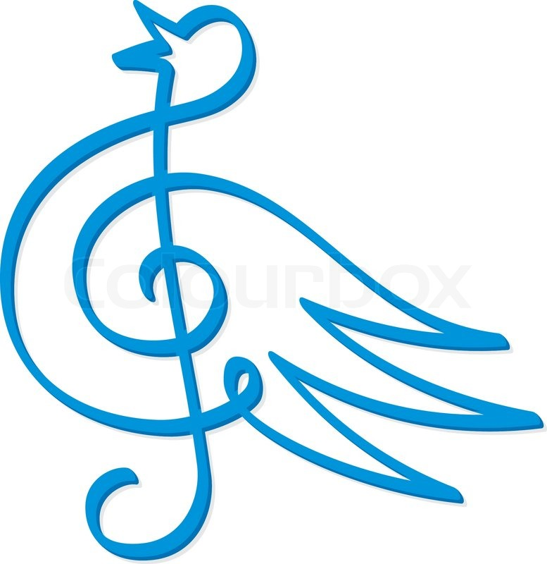Line Art Of Treble Clef Symbol Form A Blue Bird Stock Vector