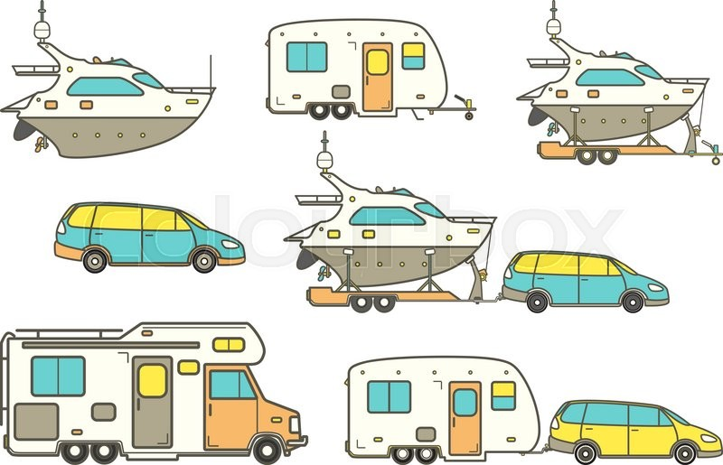 Vector Camping Car Caravan Truck Icon Camper Van Line Illustration Trailer Boat Pleasure Yacht