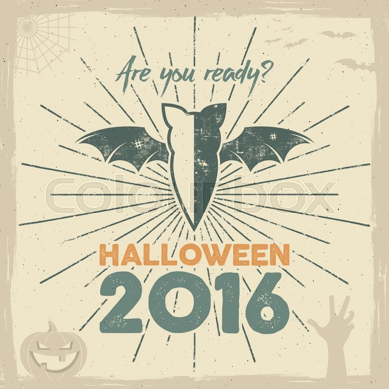 are you ready lettering and holiday symbols bat pumpkin hand witch hat spider web and other retro banner party flyer design vector illustration