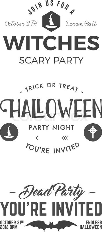 halloween 2016 party invitation label templates with scary symbols