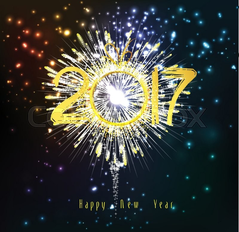 happy new year 2017 fireworks stock vector colourbox