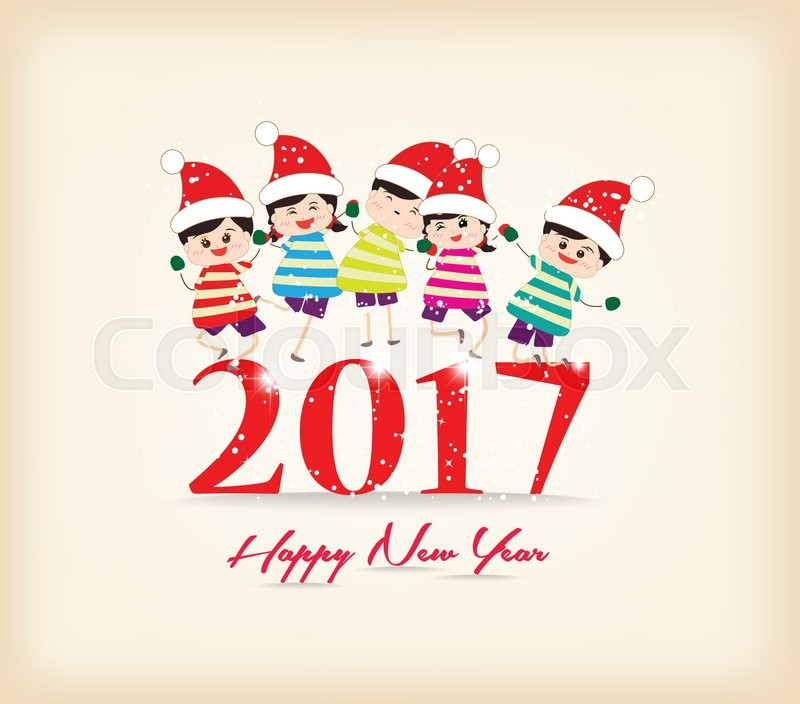 Happy new year 2017 with kids funny | Vector | Colourbox