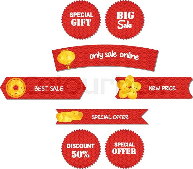 Chinese New Year Design Elements Chinese Tags For Sale Stock