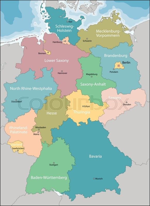 Regions Of Germany Map.Germany Map With Regions And Main Stock Vector Colourbox