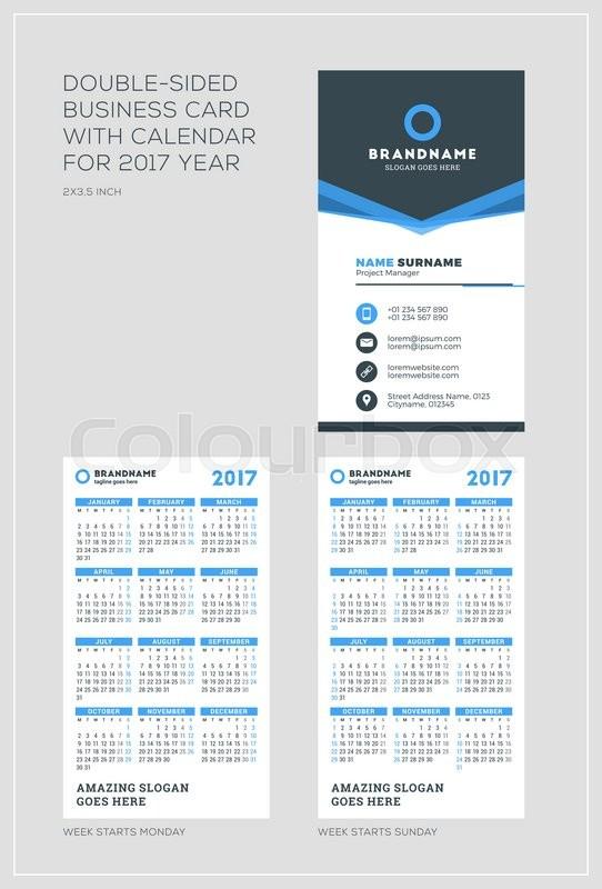 Double sided vertical business card template with calendar for 2017 double sided vertical business card template with calendar for 2017 year week starts monday week starts sunday portrait orientation flashek Choice Image