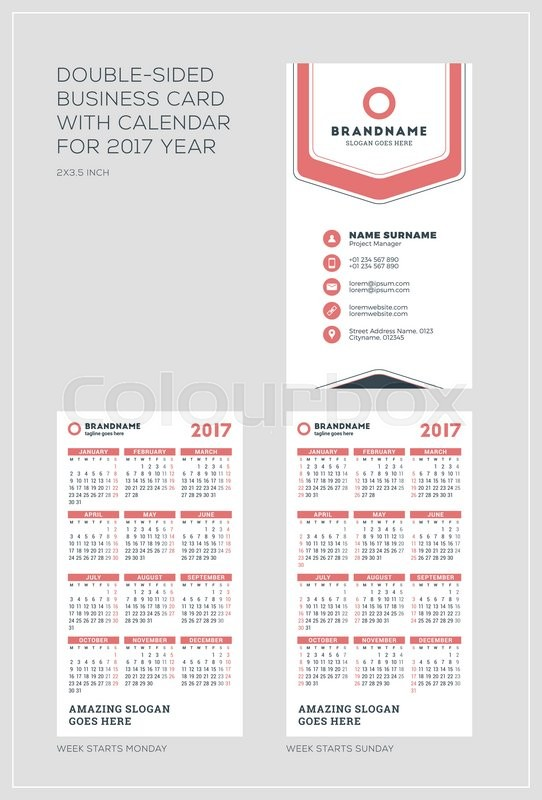 Double sided vertical business card template with calendar for 2017 double sided vertical business card template with calendar for 2017 year week starts monday week starts sunday portrait orientation accmission Images