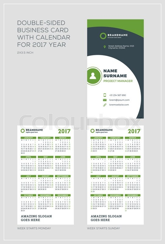 Double sided vertical business card template with calendar for 2017 double sided vertical business card template with calendar for 2017 year week starts monday week starts sunday portrait orientation fbccfo Images