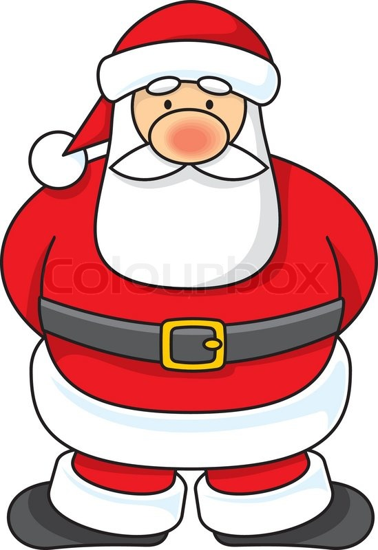 Cartoon illustration of a santa claus standing stock