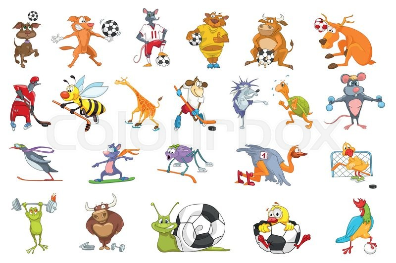 set of colourful animals wearing uniform and using sports