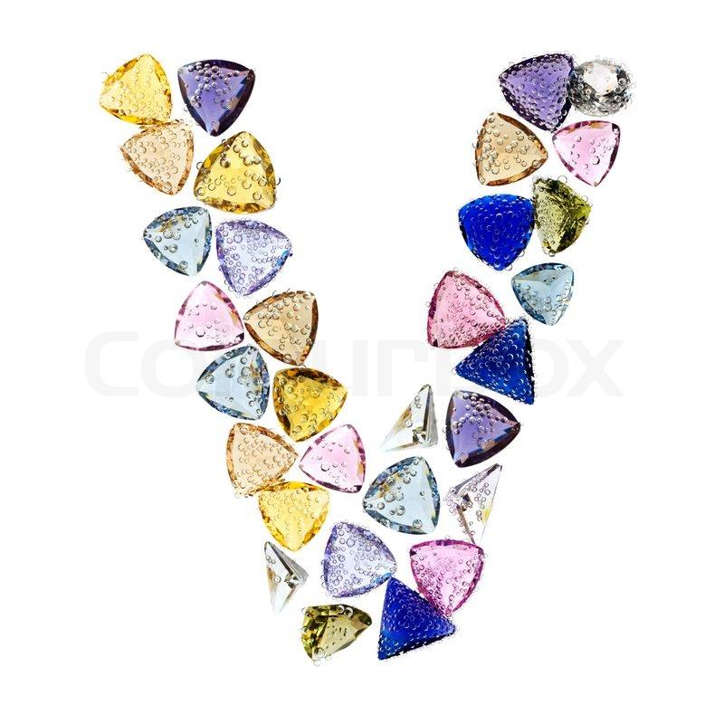 Gemstones Alphabet Letter V Isolated On White Background Stock Photo