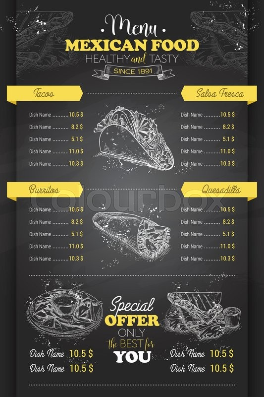Drawing Vertical Scetch Of Mexican Food Menu Design On
