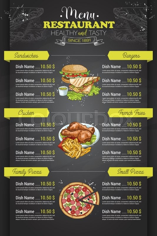 restaurant vertical color menu design on blackboard