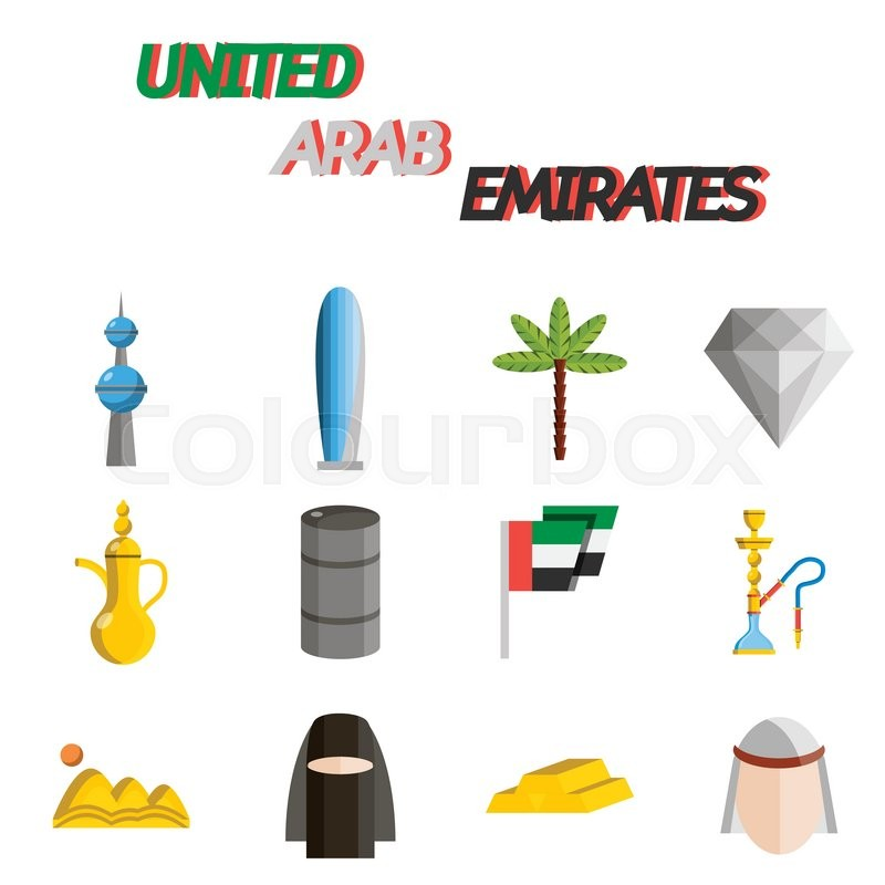 United Arab Emirates Flat Icons With Symbols Of State And Cultural